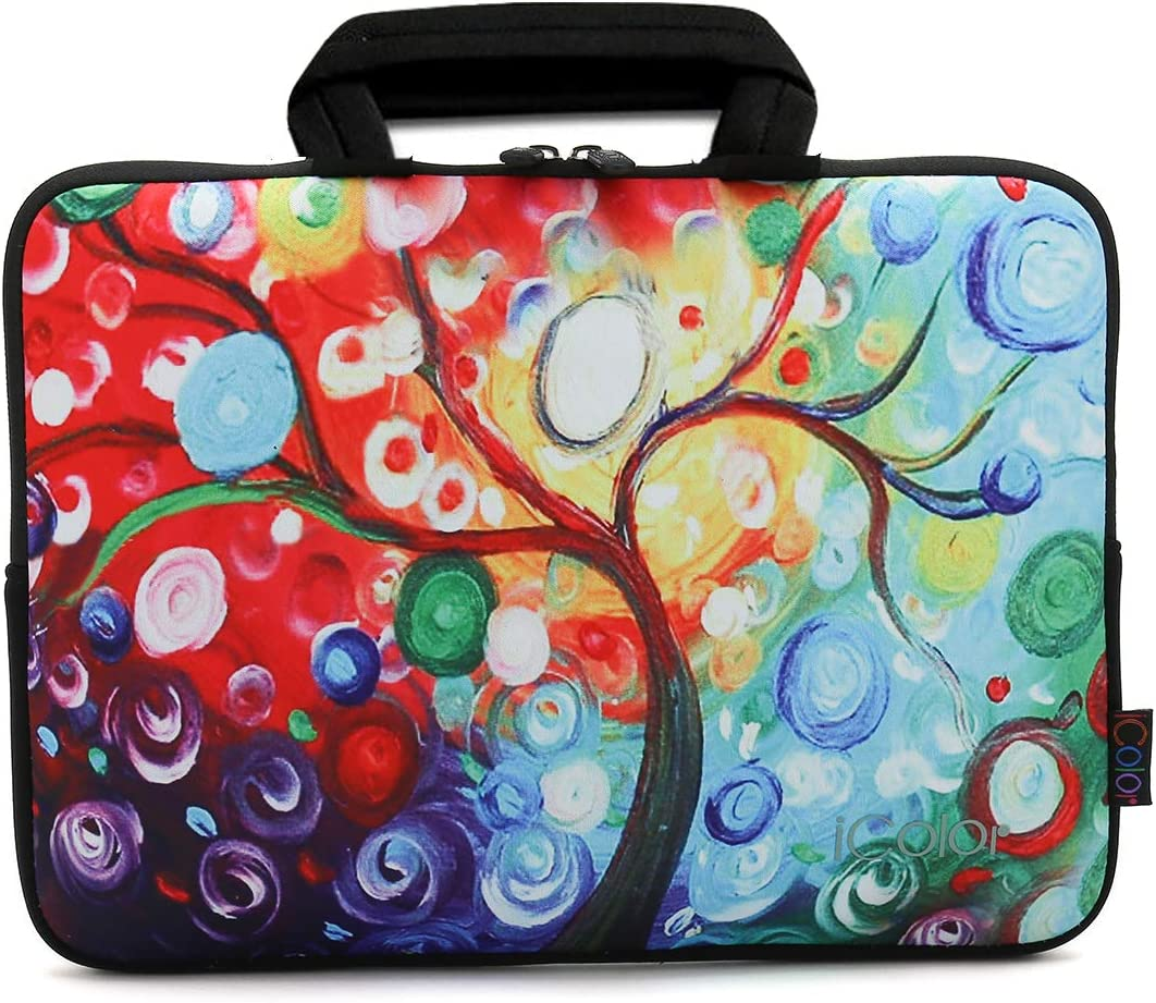 ICOLOR 11 11.6 12 12.1 12.5 Inch Laptop Carrying Bag, Protective Chromebook Case Pouch, Netbook Notebook Ultrabook Bag, Tablet Sleeve Cover Travel Briefcase with Handle, Colorful Tree