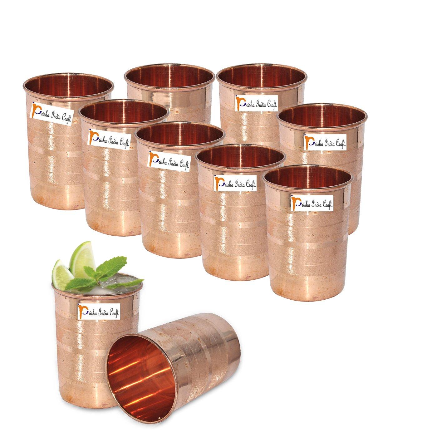 Set Of 10 - Prisha India Craft  Copper Cup Water Tumbler - Handmade Water Glasses - Traveler's Copper Mug For Ayurveda Benefits - Christmas Gift Item