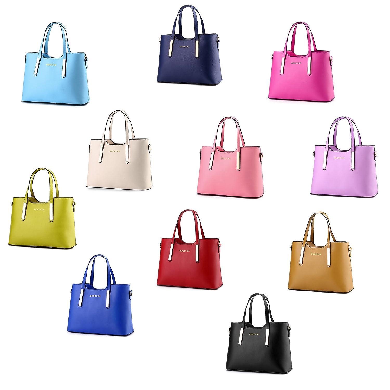 7f642afa7a0d0 Tibes Luxus PU Leder Handtasche Mode Umhängetasche Tasche Beige  Amazon.de   Koffer