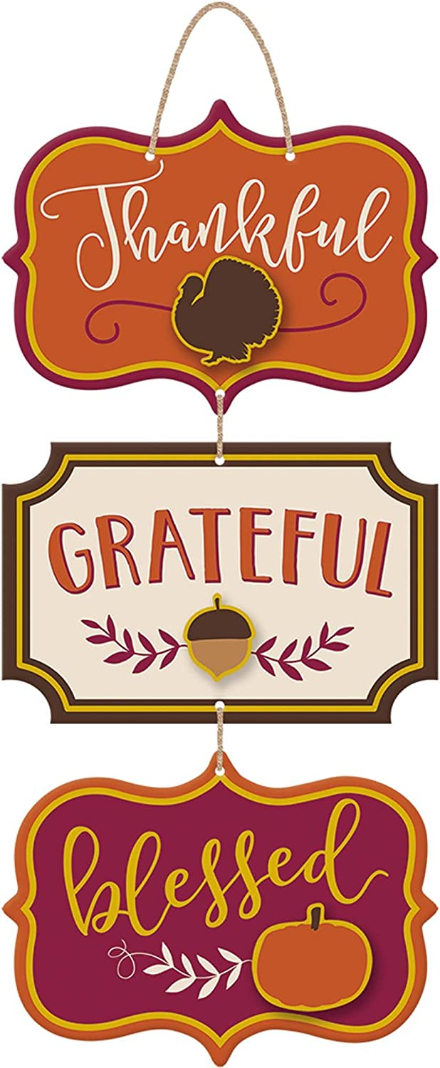 "Thanksgiving""Thankful""""Grateful""""Blessed"" Triple Sign, 18"" x 8"", 1ct"