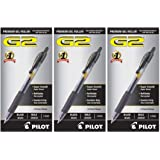 PILOT G2 Premium Refillable & Retractable Rolling Ball Gel Pens, Bold Point, Black Ink, 12 Count - 3 Pack