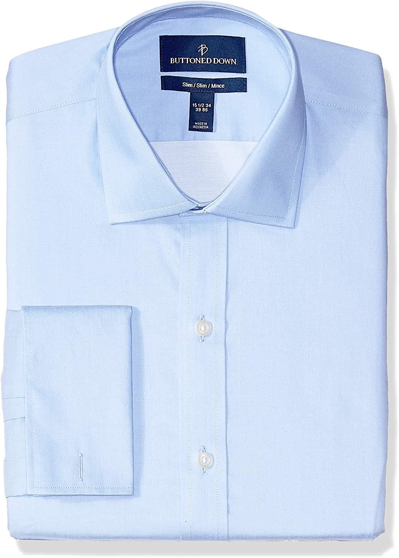 Amazon Brand - BUTTONED DOWN Men's Slim Fit French Cuff Dress Shirt, Supima Cotton Non-Iron, Spread-Collar