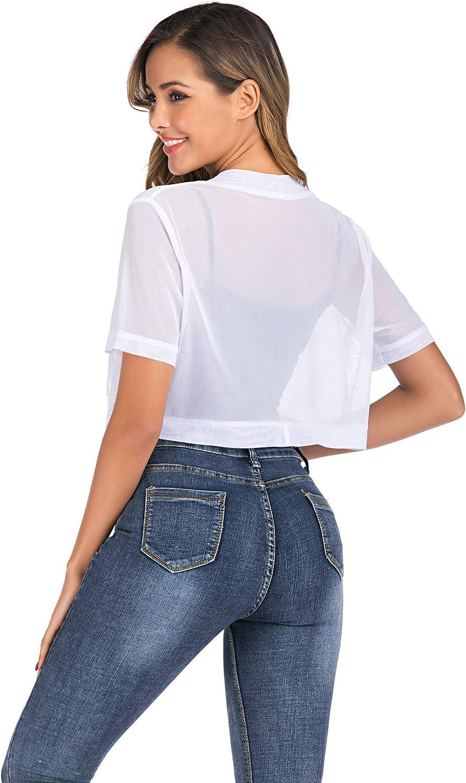 Enjoyoself Womens Shrugs for Dress Lightweight Sheer Short Sleeve Open Front Bolero Cardigan Evening Cover Up