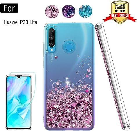 Atump Custodia Huawei P30 Lite/Nova 4e Glitter Cover con Protezione HD, Brillantini Trasparente Silicone Gel Liquido Sabbie Mobili Bumper TPU Case ...