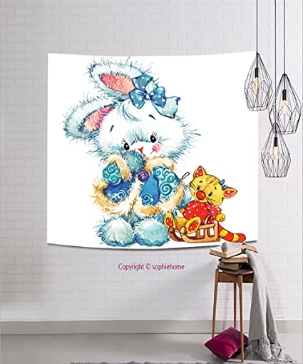 sophiehome tapestries236636713 new year santa clauscute bunny and christmas background for card decoration watercolor