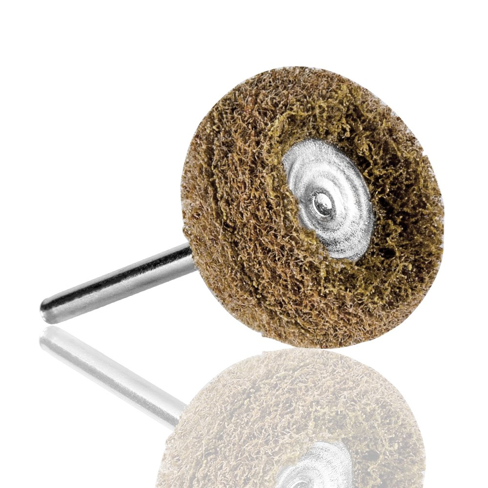 Rocaris 1'' (25mm) Brown 120 Grit Abrasive Buffing Polishing Wheels Burr For Proxxon Dremel Rotary Tools-1/8''(3mm) Shank Pack of 50Pcs by Rocaris (Image #3)
