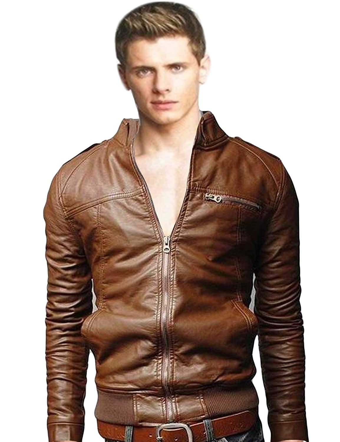 Bestgift Men's Solid Color Stand Collar Faux Leather Short Jacket Coffee L BSGFNC0259-1XL