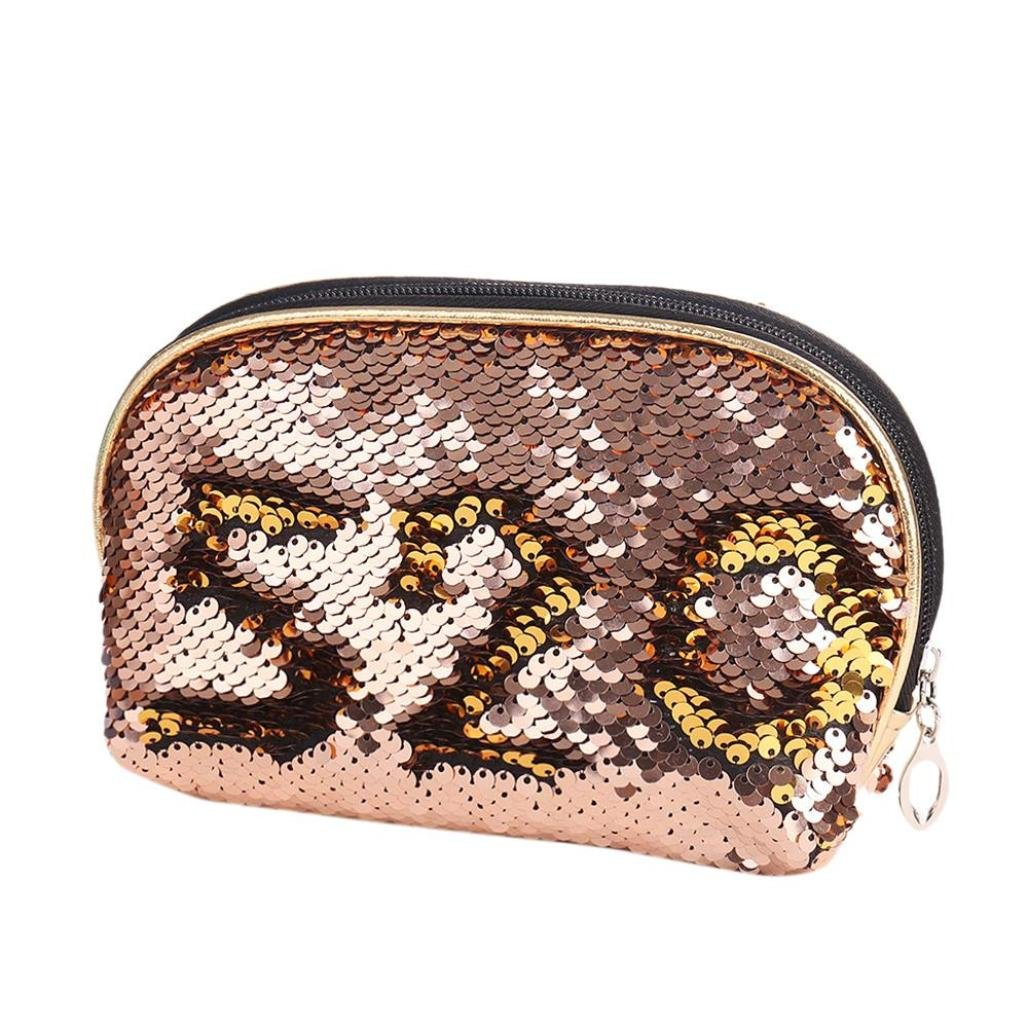YJYdada Mermaid Sequin Pencil Case Cosmetic Makeup Coin Pouch Storage Zipper Purse (Rose Gold)