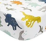 Little Unicorn Percale Crib Sheet - Dino Friends