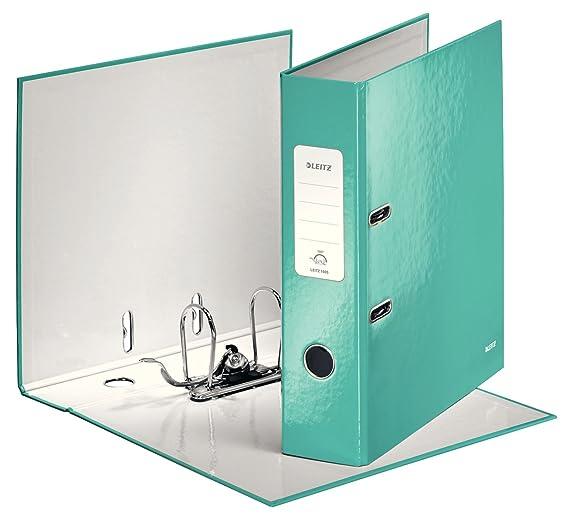 Leitz, Archivador de Palanca, Turquesa Metalizado, A4, Lomo de 8 cm ancho, 180° WOW, 10050051: Amazon.es: Oficina y papelería