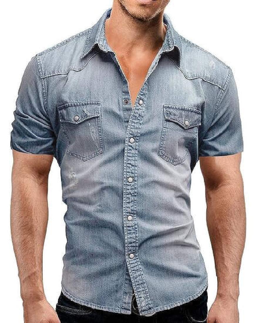 WAWAYA Mens Short Sleeve Slim Button Up Pocket Front Summer Denim Work Western Shirt