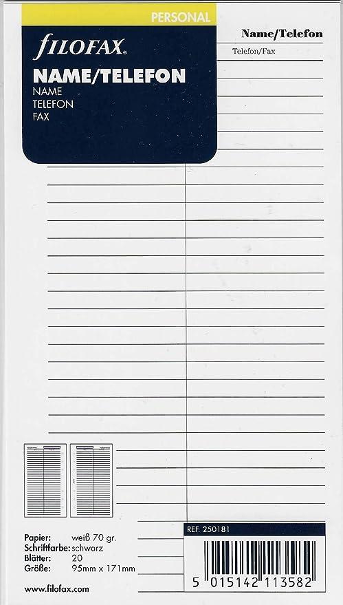 Filofax 250181 - Agenda personal para números de teléfono ...