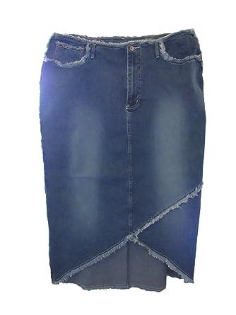3a32571e04d Revolt Women s Plus Size Frayed Stretch Denim Long Skirt (22
