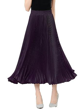 relaxfeel - falda larga plisada con cintura elástica, brillo ...