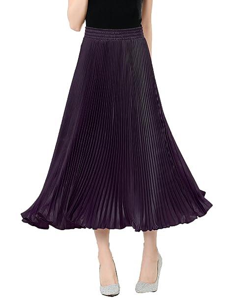 relaxfeel - falda larga plisada con cintura elástica 1ebae14044c0