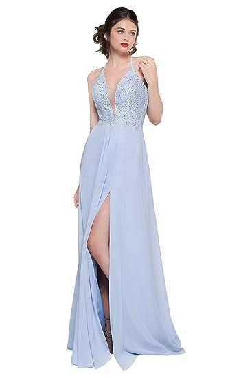 c4822e50b6db Women S V Neck Lace Appliqued Chiffon Evening Prom Dress Long Slit