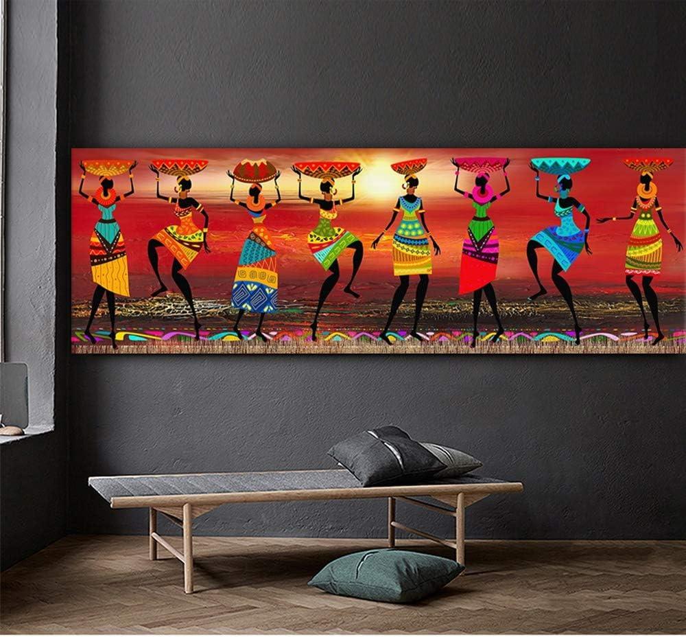 Quadri Cuadros Etnicos Dipinti Arte Tribale Africana Donne Che Ballano Pittura a Olio Immagine for la Stampa su Tela Soggiorno Home Decor Size inch : 10x30cm No Frame