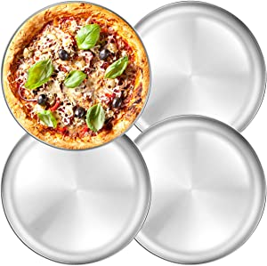 Stainless Steel Pizza Pan 13.39 inch - Deedro Round Pizza Tray Pizza Baking Sheet, Nonstick Pizza Baking Pan Dishwasher Safe Pizza Serving Tray, 4 Pack