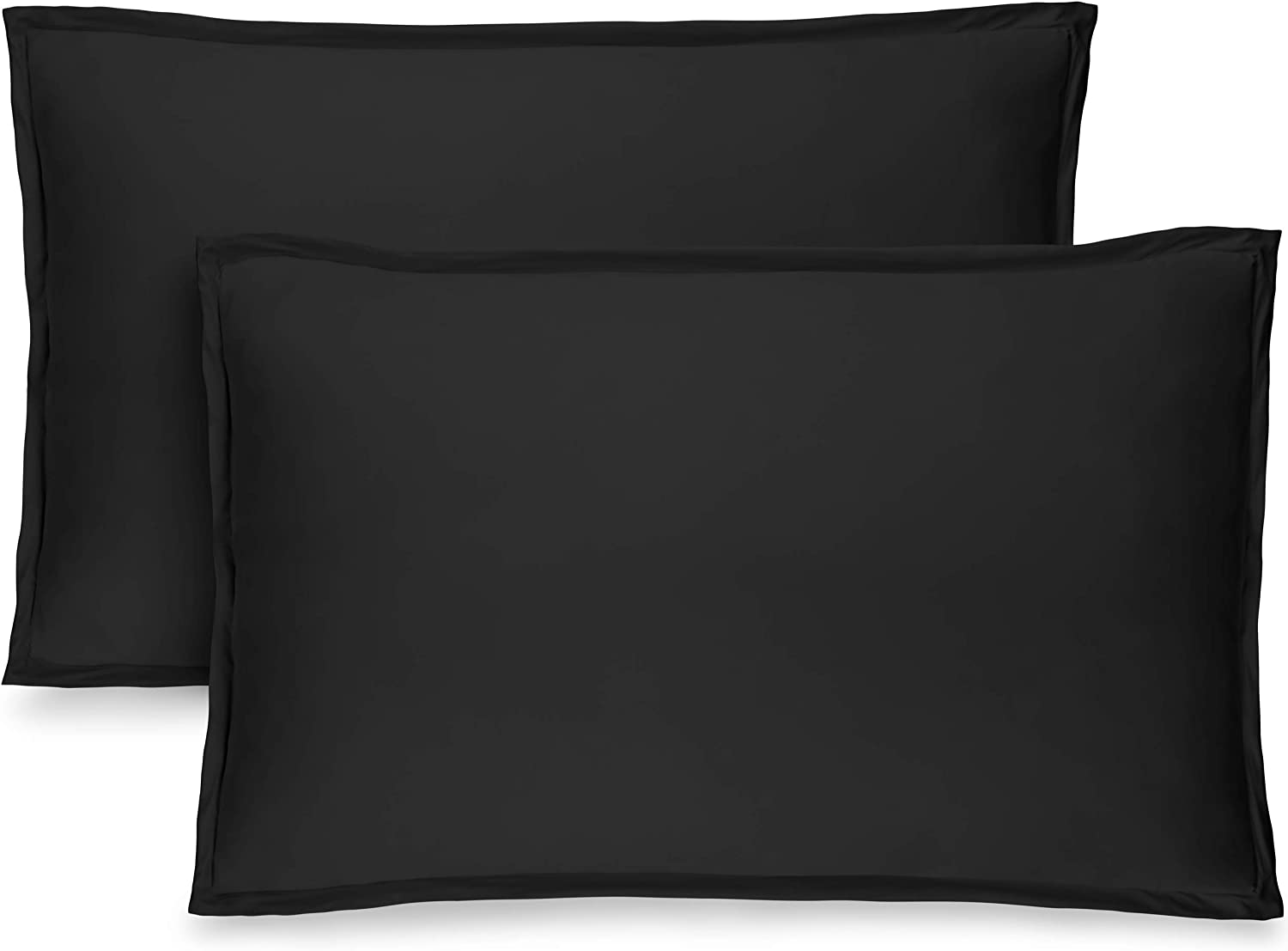 Bare Home Premium 1800 Ultra-Soft Microfiber Pillow Sham - Double Brushed - Hypoallergenic - Wrinkle Resistant (King Pillow Sham Set of 2, Black)