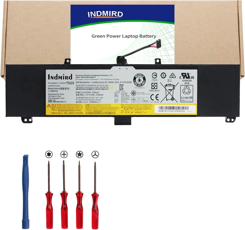 Indmird New OEM L13M4P02 (7.4V 54Wh 7400mAh) Replacement Laptop Battery Compatible with Lenovo L13M4P02, L13N4P01,121500250, Lenovo Erazer Y50 Y50-70 Y50-80 Y50P Y50P-70 Y70 Y70-70 Series