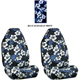 Blue Hawaiian Hawaii Aloha Print with White Hibiscus Flowers Wild Series 2PC Car Truck SUV Auto Front Seat Universal-fit Bucket Seat Covers - PAIR