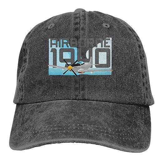 P51D Airborne 1940 Denim Dad Hats Adjustable Baseball Cap at