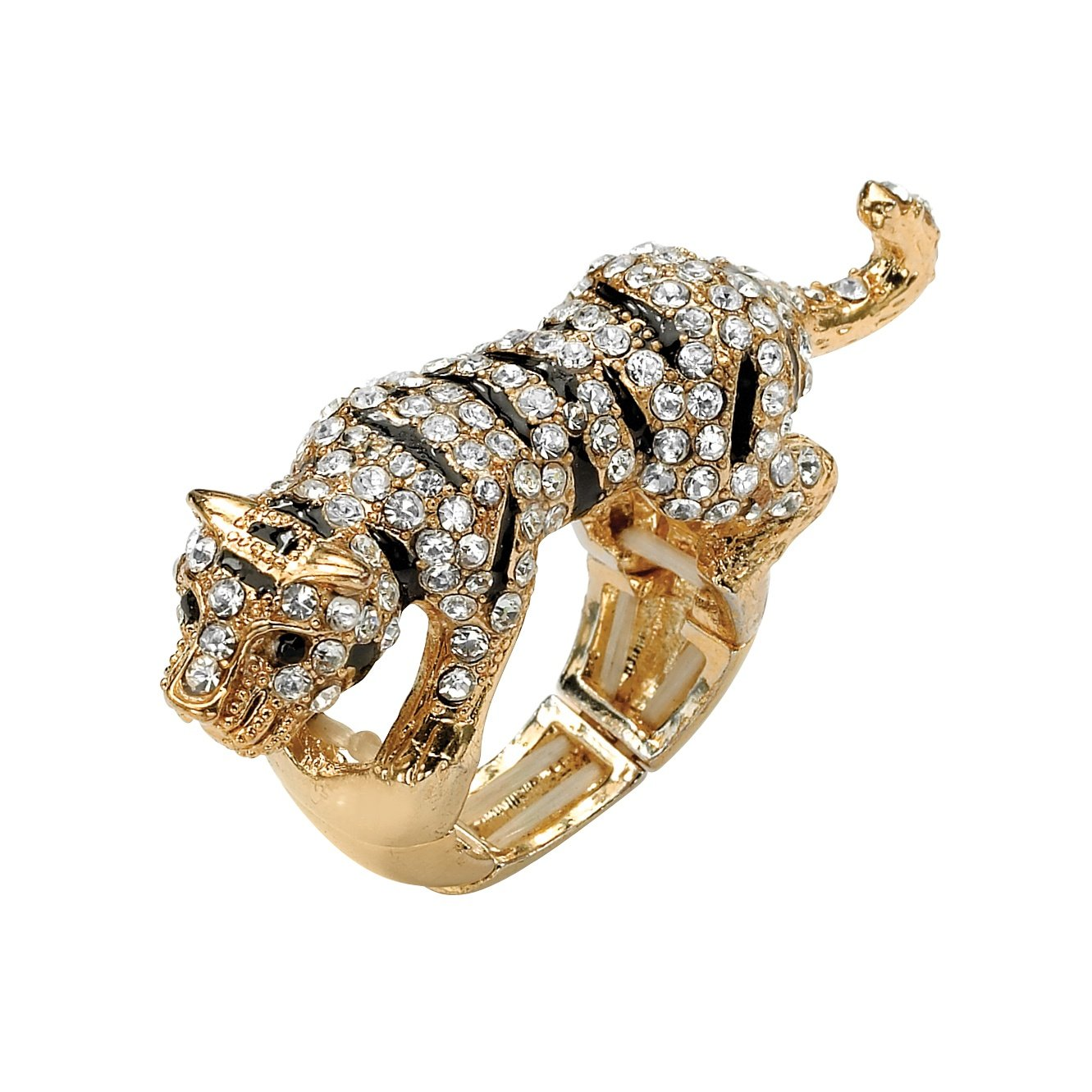Lux Black and White Simulated Crystal Yellow Gold Tone Tiger Stretch Ring