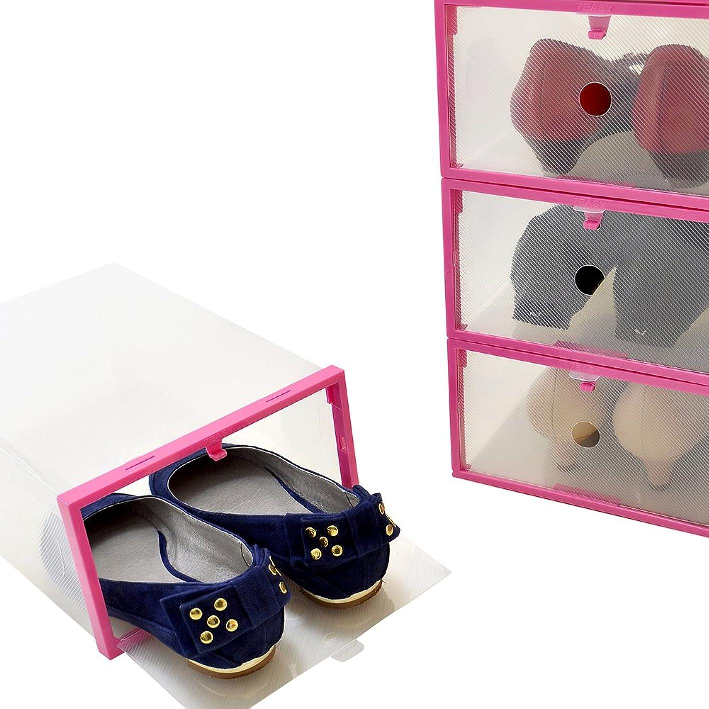 軽減するアプローチ女性用サイズ シューズボックス 透明クリアーケース【靴箱/収納】【コモストック】