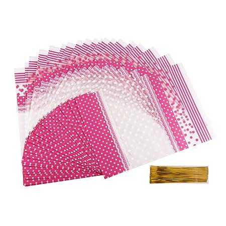 Veylin. 50 bolsas de cucurucho en celofán de color rosa para ...