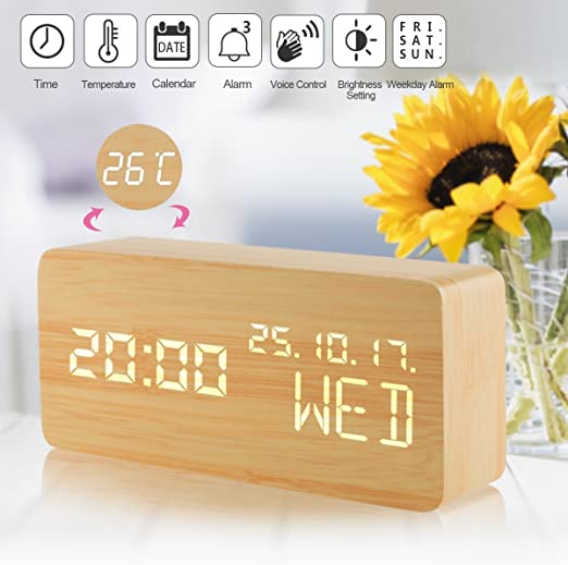Alarm Clock LED Wood Digital Clocks with Time Date Week Temperature Voice