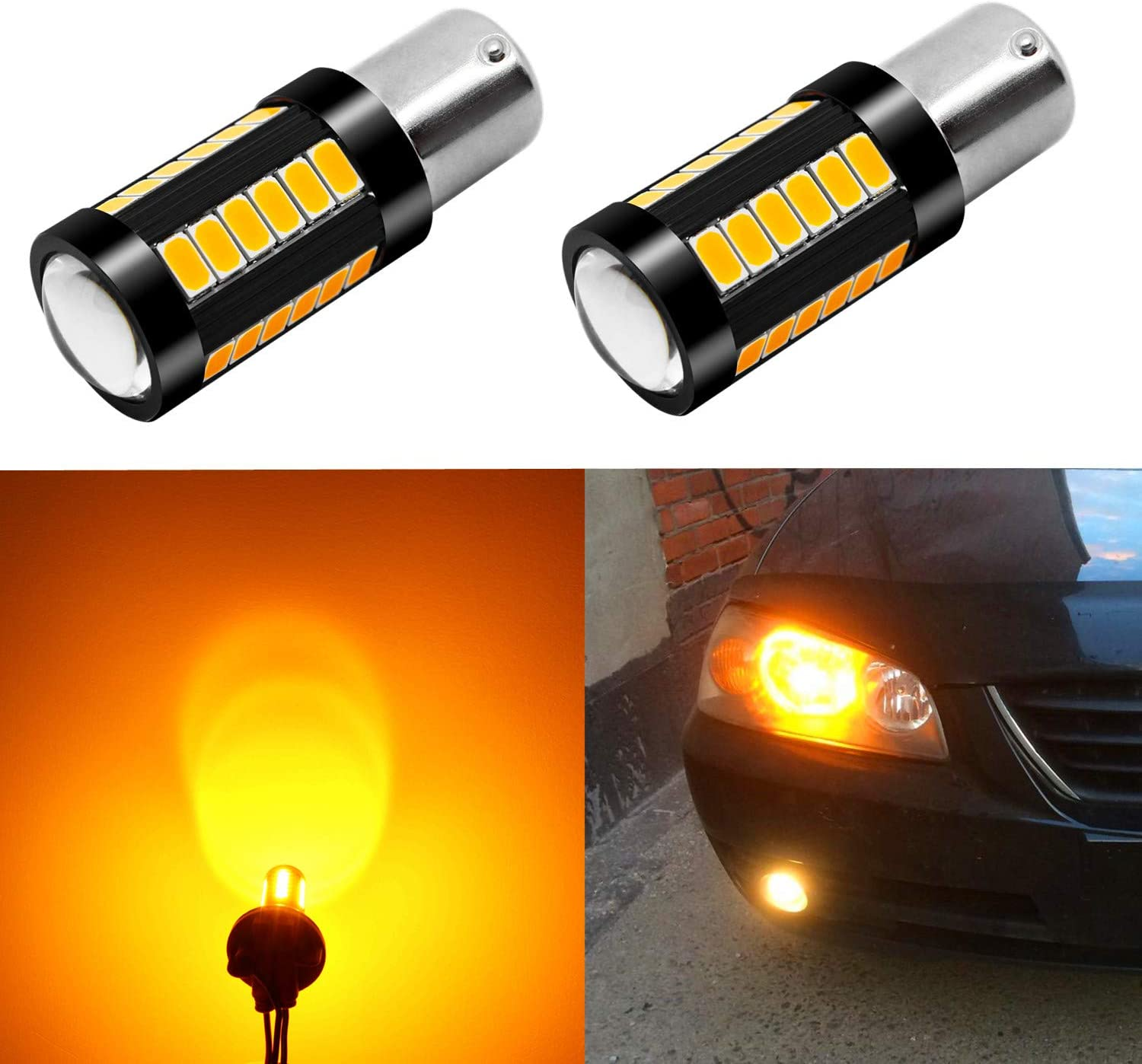 Alla Lighting 2800lm BAU15S 12496 7507 LED Turn Signal Light Bulbs Xtreme Super Bright 7507 LED Bulbs High Power 5730 33-SMD LED 7507 Bulbs PY21W 2641A LED Blinker Light, Orange Yellow (Set of 2)