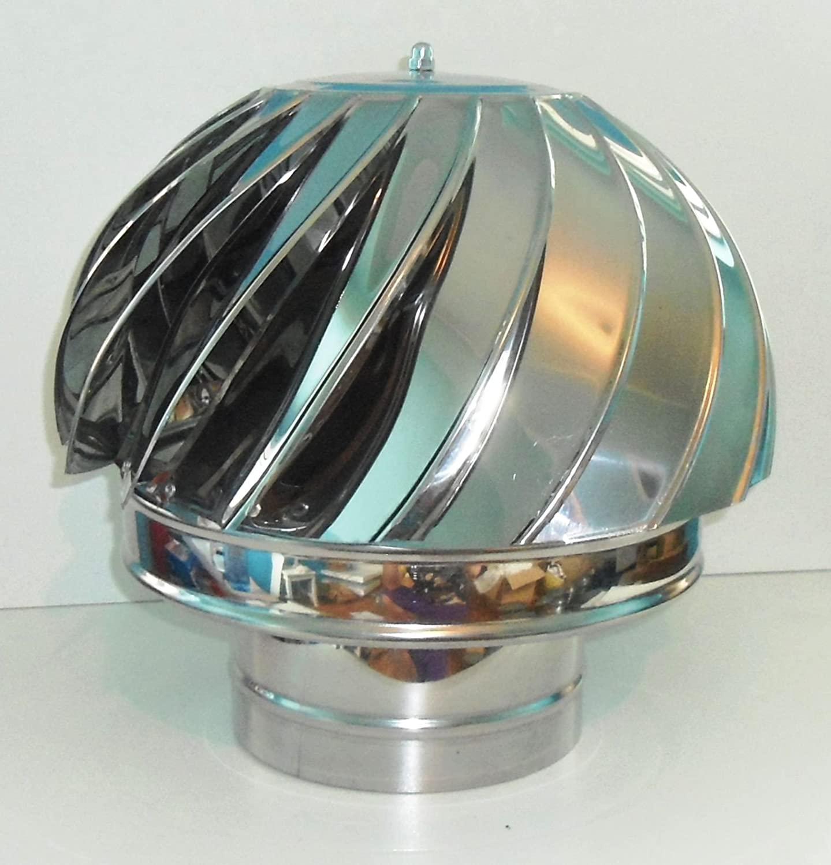 Chimenea cubierta Spinner Spinning viento de acero inoxidable giratoria tapa ventilació n Pipefit 100 A 200 mm Chimney