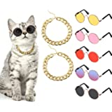 Weewooday 7 Piece Cool Cat Dog Costume Set Include Adjustable Gold Pet Dog Chain and Funny Cute Cat Small Dog Sunglasses Retr