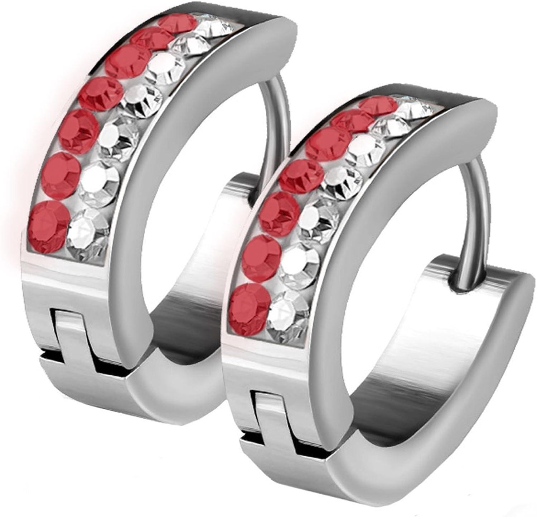BodyJ4You Huggie Hoop Earring Red Crystals Stripes Pave