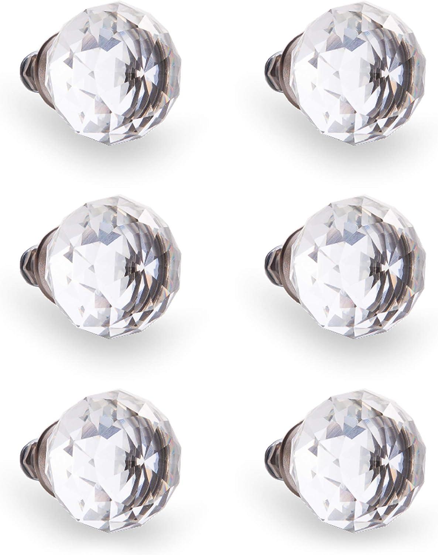 BINO Crystal ROUND Door Knobs BRUSHED NICKEL One Set FACETED DIAMOND NWT