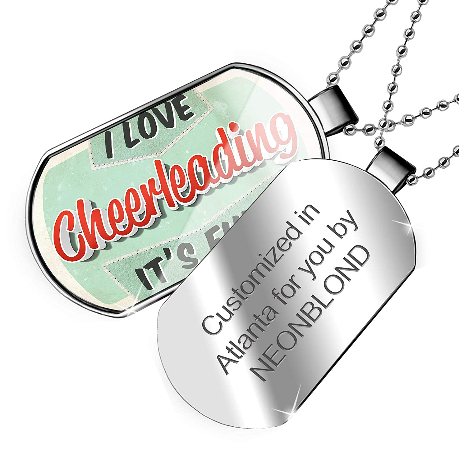 NEONBLOND Personalized Name Engraved I Love Cheer Leading Vintage Design Dogtag Necklace