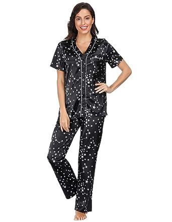 a687d3793 Women's Short Sleeve Shirt and Long Pants Button Down Sleepwear Set Black S