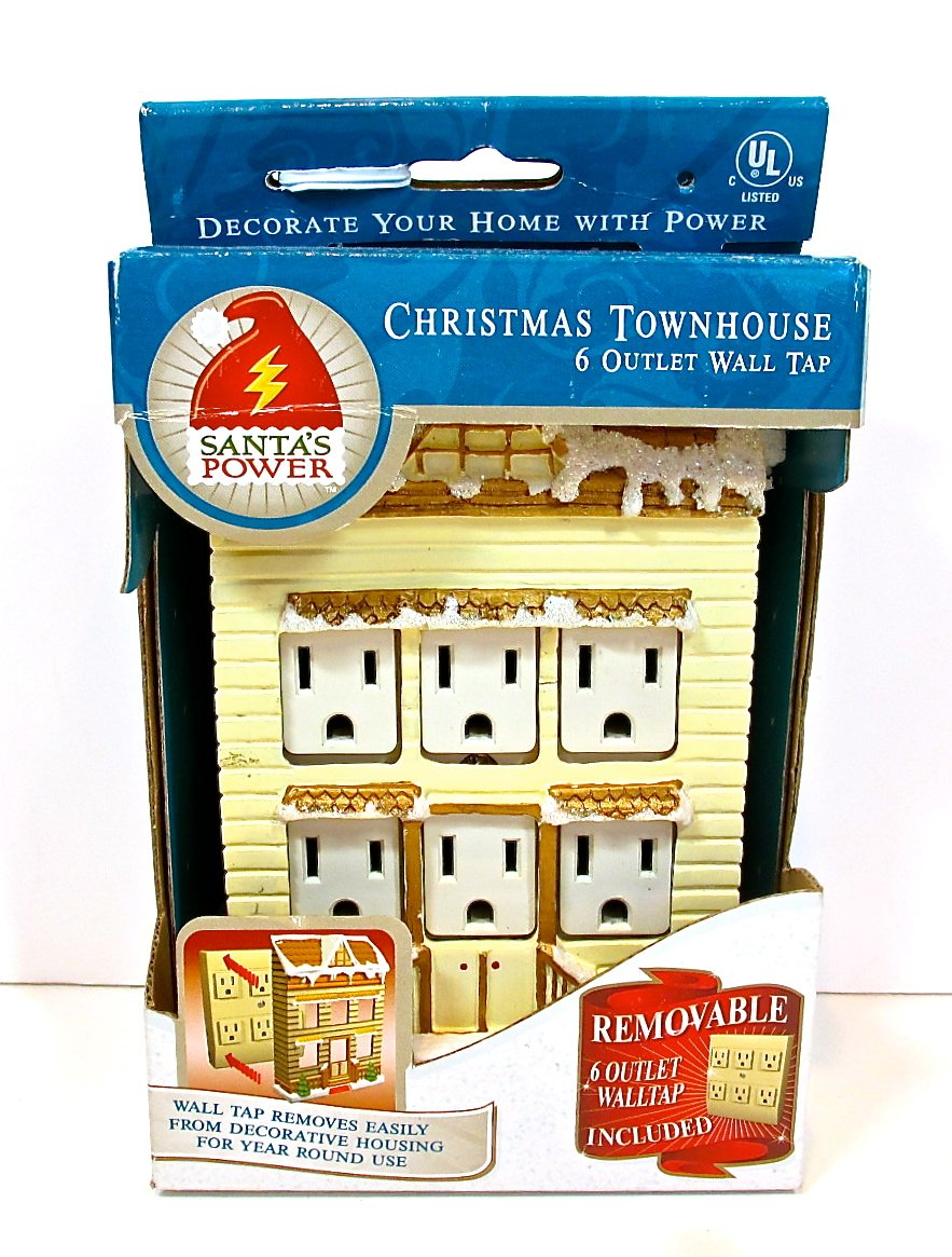 Christmas Wall Tap, decorative Townhouse, 6 Outlet, Santa\'s Power ...
