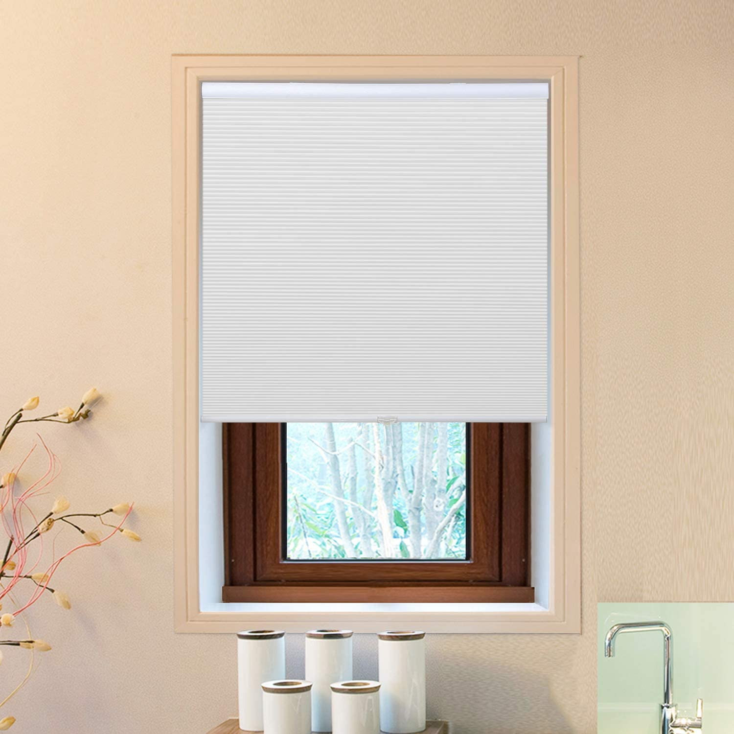 Allesin Cellular Window Shades (Blackout) Cordless Room Darkening Blinds and Shades for Windows, Bedroom, Home (White 23
