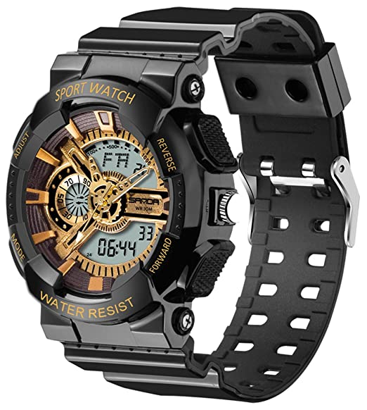 Sanda 3d dial digital reloj multifuncional impermeable LED Dual Display cuarzo deporte reloj de pulsera: Amazon.es: Relojes