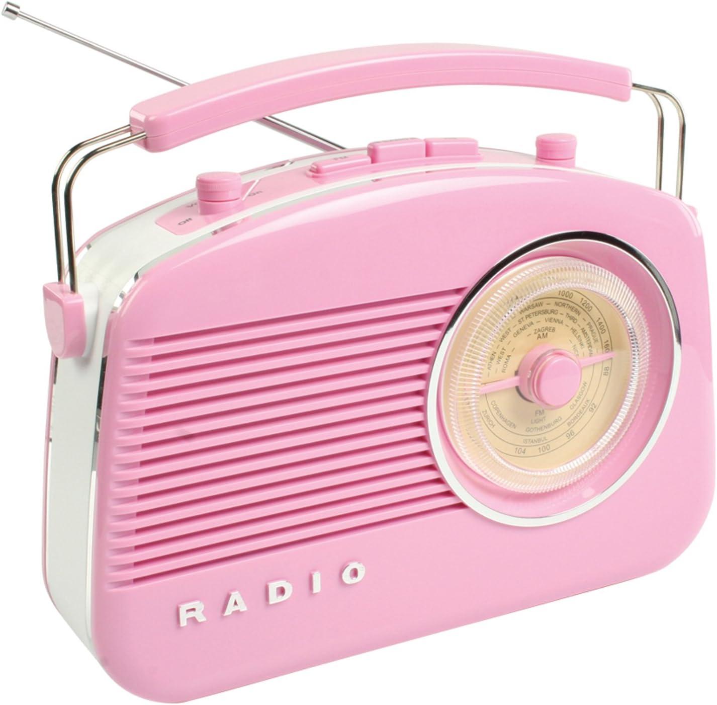 König HAVTR710PI Radio Am/FM DE Dise#O Retro E, 5.5 W, 9 V, Rosa