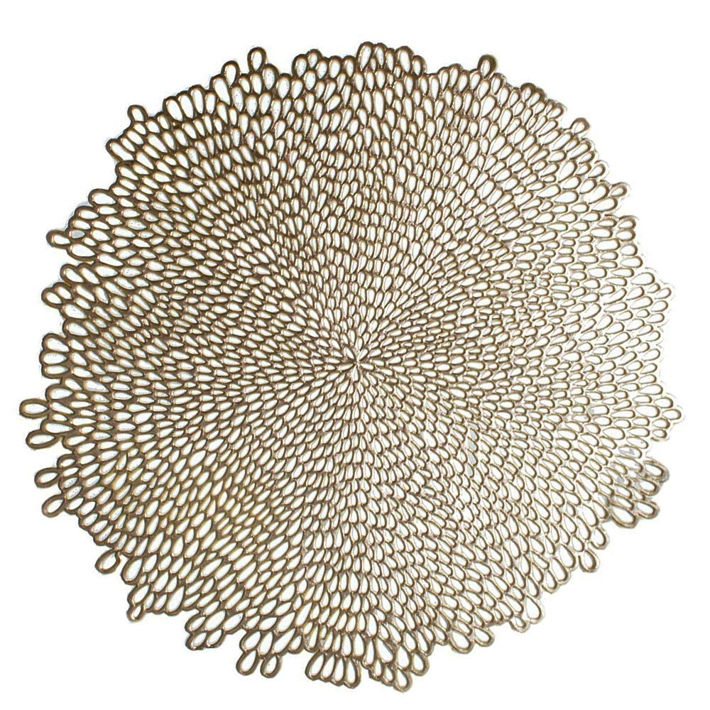 IFAXF Blossom Pressed Vinyl Placemat, (Set of 4), 15.5'', Gold