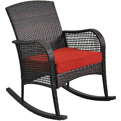 Astounding Amazon Com Outdoor Wicker Rocking Chair Soft Cushion Machost Co Dining Chair Design Ideas Machostcouk