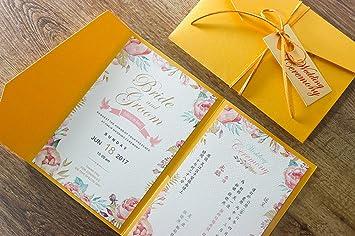 Amazon golden wedding invitations envelope with custom wording golden wedding invitations envelope with custom wording invite cards golden pocket invitation cards set filmwisefo