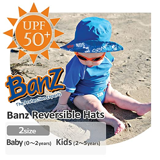 90b3438ceff Amazon.com  Baby BanZ Baby Boys  UV Reversible Bucket Hat  Infant And  Toddler Sunhats  Clothing