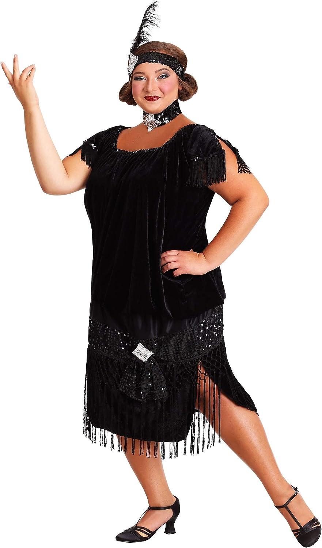 Plus Size Womens Black Flapper Dress Deluxe 1920s Flapper Dress Costume 1X