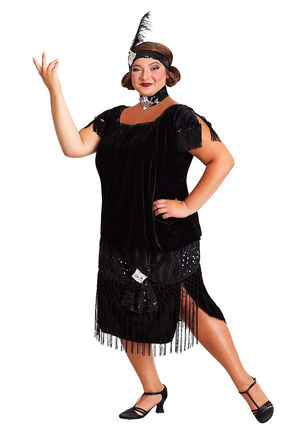 Amazon.com: Deluxe Black Plus Size Flapper Costume: Clothing