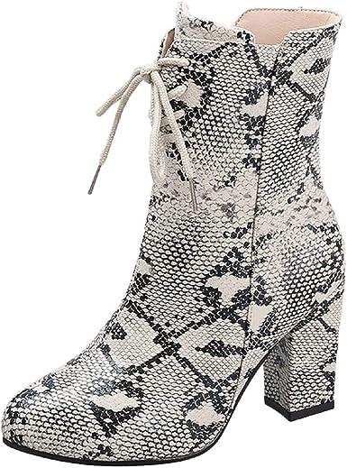 Tsmile Women Snakeskin Print Boots