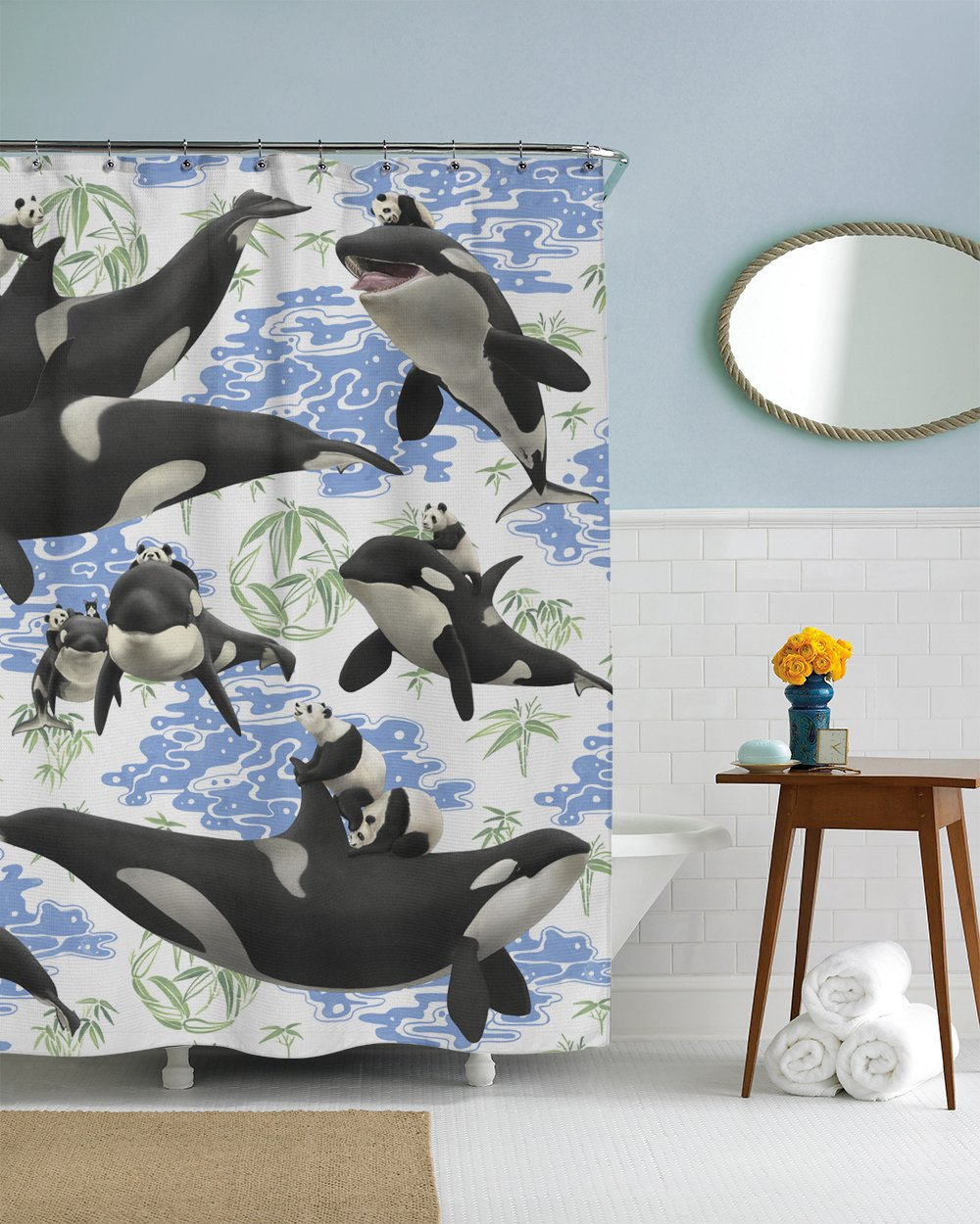 Rabbits Riding Manatees Fabric Shower Curtain Boho Chic Art 75 Inches Long 12 Hooks Included COMIN18JU004078