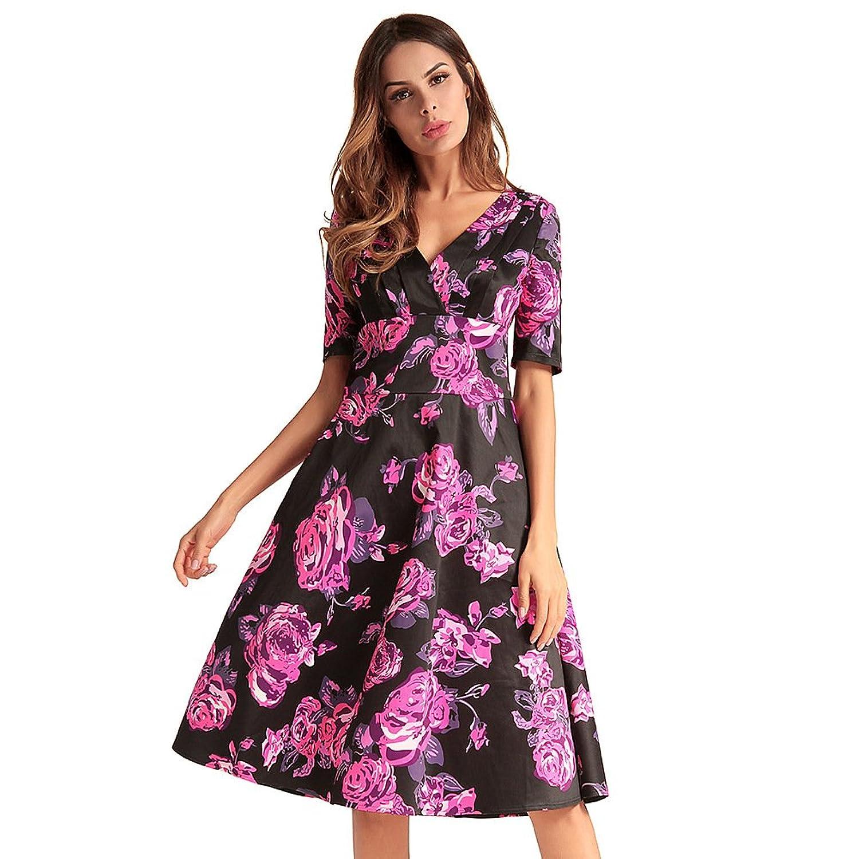 60a8361876 antaina Vestido de Las Mujeres Del Patinador de la Gasa de la Impresión  Floral Negro de
